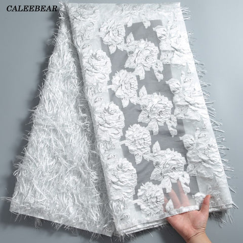 Image of Latest French Lace Fabric 2020 High Quality Lace Fluffy Feather African Lace Fabric Tulle Mesh Laces For Wedding Dresses S1789
