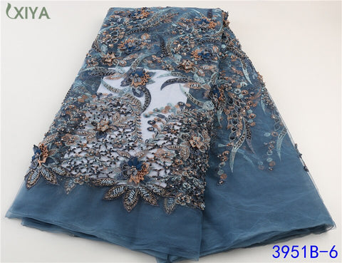 Heavy Handmade Beaded Lace Fabric High Quality 2021 African French Mesh Tulle Lace Fabric for Nigerian Party Wedding APW3951B