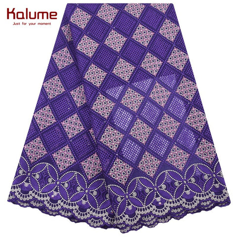 Kalume Latest African Swiss Cotton Lace Fabric High Quality Nigerian Swiss Voile Lace Fabric Stones For Dress Occasions F2050