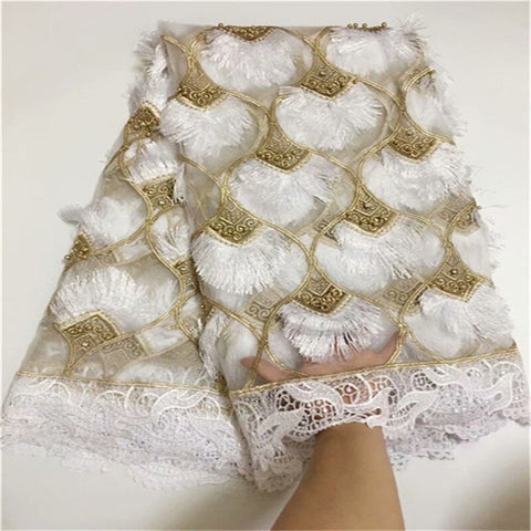 2021 High Quality African French Lace Fabric With Sequins Nigerian Net Lace Fabric Pure White Milk Silk 3D Lace For Party