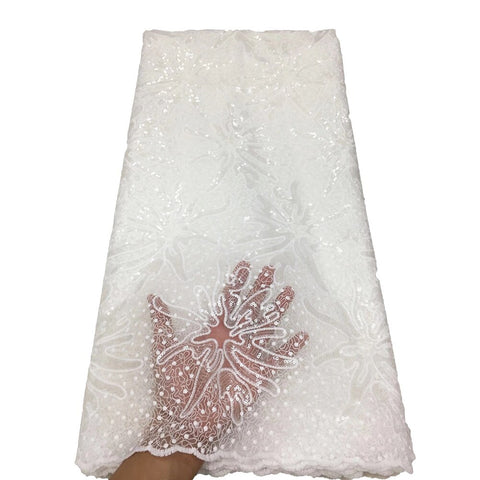 2020 Latest French Nigerian Lace Fabric High Quality white Tulle African Laces Fabric Wedding Dubai French Tulle Lace Fabric
