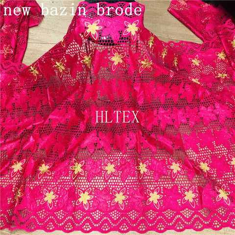 Image of African bazin riche fabric with brode Latest fashion embroidery bazin lace fabric with net lace 2.5 yards HL062702