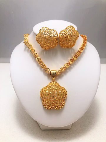 Image of luxury Wedding Bridal Dubai Gold Jewelry Sets for Women Crystal Necklace Earrings African Beads Jewelry Set Wholesale Design