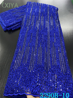 Royal Blue African Sequins Laces Fabrics High Quality African French Tulle Lace Fabric for Nigerian Net Lace Fabrics APW3290B