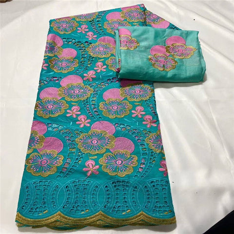 7Y With Scarf Swiss lace fabric heavy beaded Embroidery African lace fabrics 100% cotton Swiss voile lace in Switzerland 3L11011