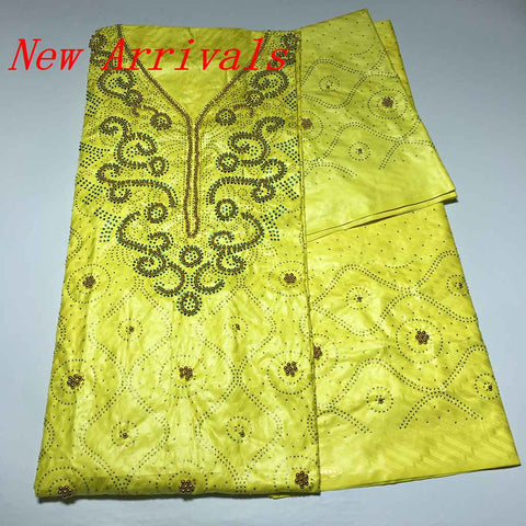 Image of African Best Quality Dubai Atiku Fabrics Getzner Bazin Riche Lace Fabric Beads Stones Neck Designs Textiles 3+2+2Yards For Dress