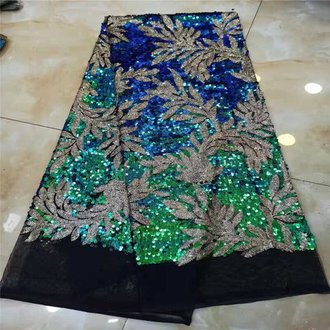 French chiffon lace green with beautiful feather fabric, high quality latest African lace beads 2019 party dress fabric