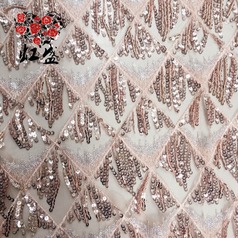 Image of Pink sequined cloth 3+5mm sequined fringed pendant diamond sequin embroidered lace fabric for clothing bag fabric