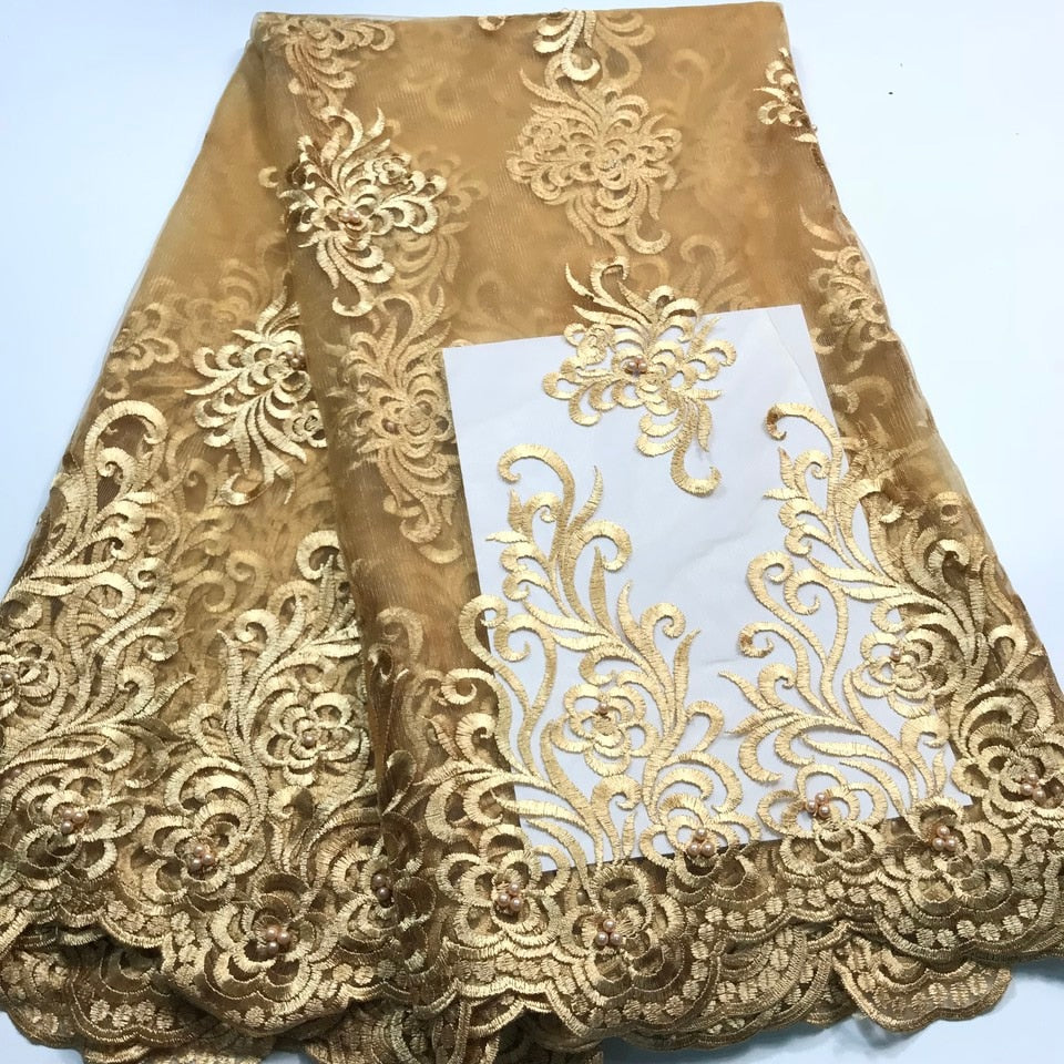 Gold African Lace Fabric 2019 High Quality Lace With Beaded, Nigerian Lace fabrics For Wedding French Tulle Lace Fabric M2850