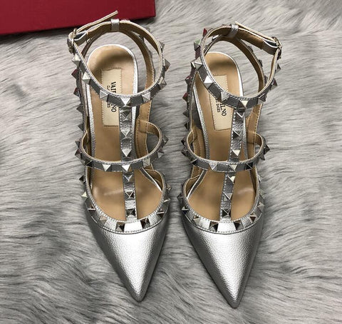 Designer Luxry Summer Women High Heel Pointed Sandals With Rivets Genuine Leather 6cm 8cm 10cm Lady Wedding Shoes 34-43 Dust Bag