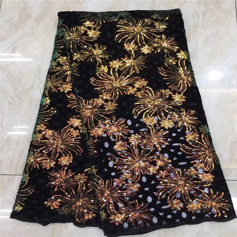 2021 Latest African Lace Fabric wine High Quality French Velvet Lace Fabric With Sequins Lace Fabric For Wedding Party