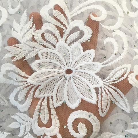 Image of Anna white african milk silk lace fabric embroidery with stones french net lace nigerian tulle fabrics 5 yards/piece for wedding