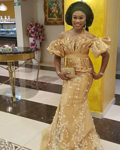 Aso Ebi African Lace Evening Dress Mermaid Off the Shoulder Nigerian Style Prom Dresses Plus Size Shiny Sequins Gold Formal Gown