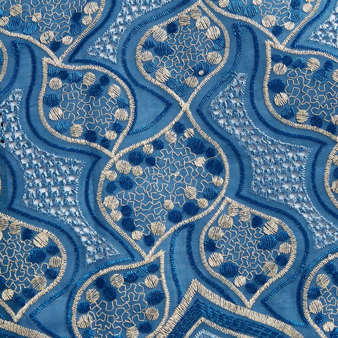 Image of SJD LACE African Lace Fabrics 2021 Embroidery Cotton Lace Fabric With Stone Nigerian Lace Fabric For Wedding Dress Party A2307