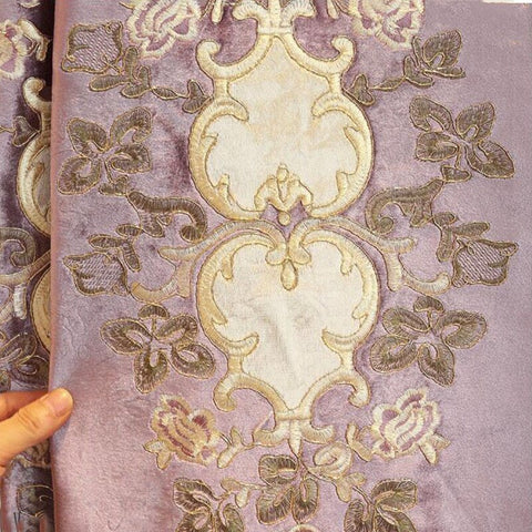European Purple Blackout Curtains Italy Velvet Gold Embroidery Floral Tulle For Bedroom Living room Window Drapes Customize D3