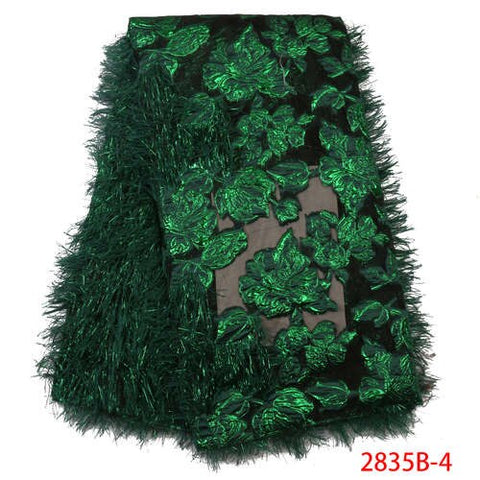 Image of Most Popular Newest Lace Fabric Bridal Lace Trim Feather Trims Sewing Nigerian Dresses African Laces For Evening Party GD2835B-3