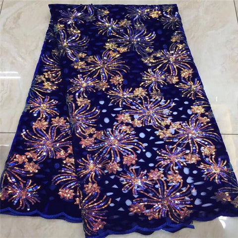 Image of (5yards/pc) wine/gold soft African velvet lace fabric in purple with beautiful multicolored sequins embroidery for party dress