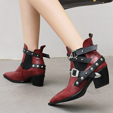 DoraTasia Plus Size 34-50 New Ladies Chunky High Heels Ankle Boots Pointed Toe Buckle Rivet Boots Women Party Ol Woman shoes