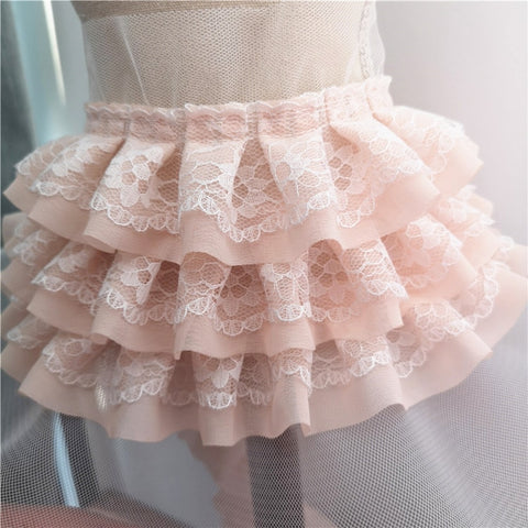 Image of Trend Many Colors Three-layer Chiffon Mesh Tulle Lace Trim Fabric DIY Doll Skirt Cuffs Curtain Edge Sewing Accessories Material