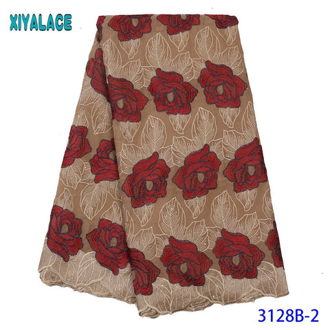 Image of African Lace Fabric Swiss Voile Lace High Quality Lace Material Cotton Laces with Stones for Dresses KS3128B