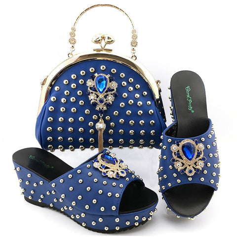 New Fashion wedge heel women shoes with handbags Italian Women High Quality with Shining in Rivets For Wedding