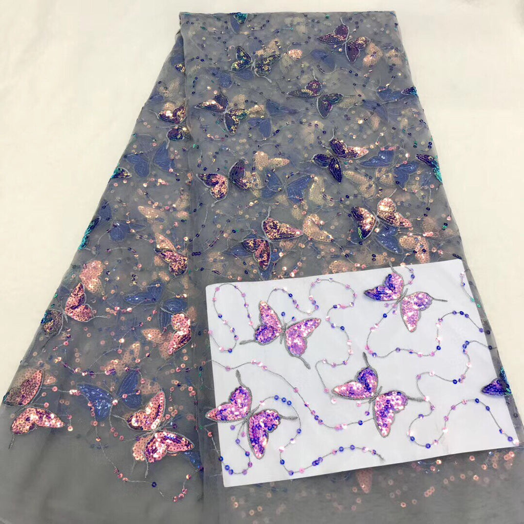 African Lace Fabric 2021 High Quality Embroidered Sequins Dragonfly La Lace Square