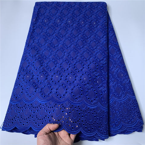 Image of 2021 High Quality African Lace Fabric Embroidery Swiss French Tulle Lace Pure Cotton 2.5Yards Damask Latest Prom Dresses Wedding