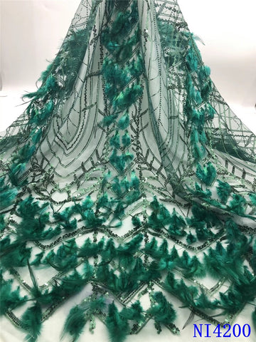 Image of New Arrival French Tulle Lace With Feather High Quality Sequin Lace Fabric For Nigerian Lace Wedding Dresses 5yards NI4200-2