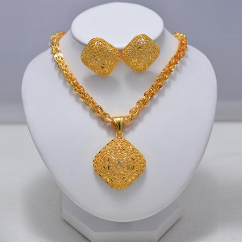 luxury Wedding Bridal Dubai Gold Jewelry Sets for Women Crystal Necklace Earrings African Beads Jewelry Set Wholesale Design