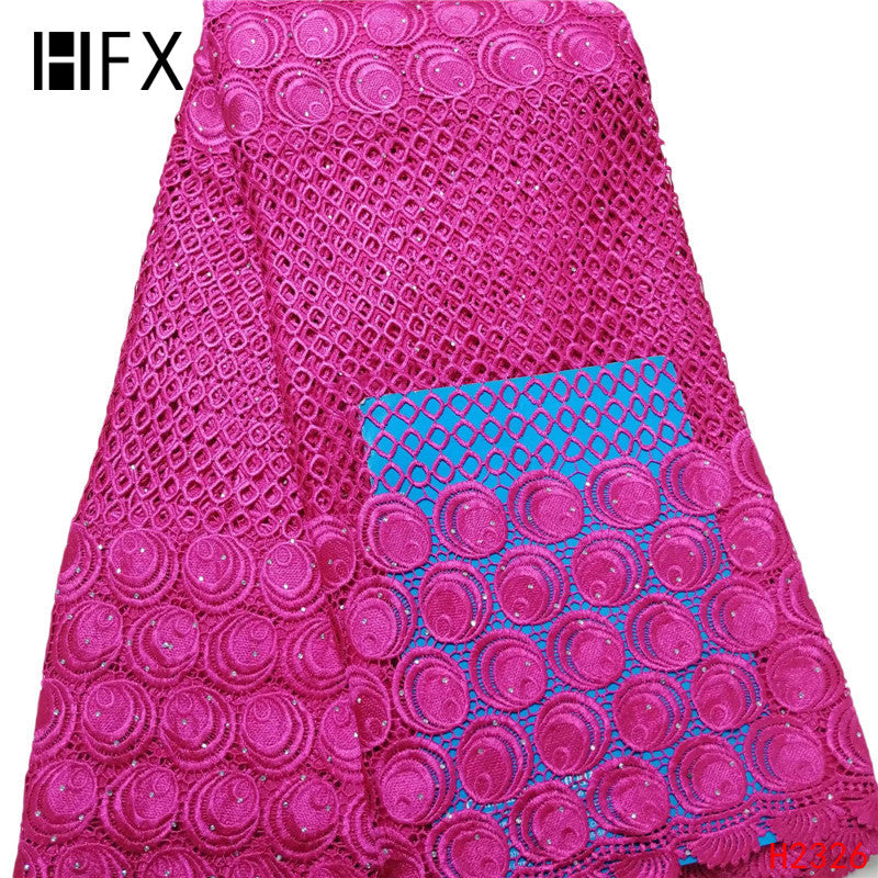 HFX 2019 High Quality African cord Lace Fabric Embroidered France cotton Lace Fabrics and Rose Red Guipure lace for women H2326