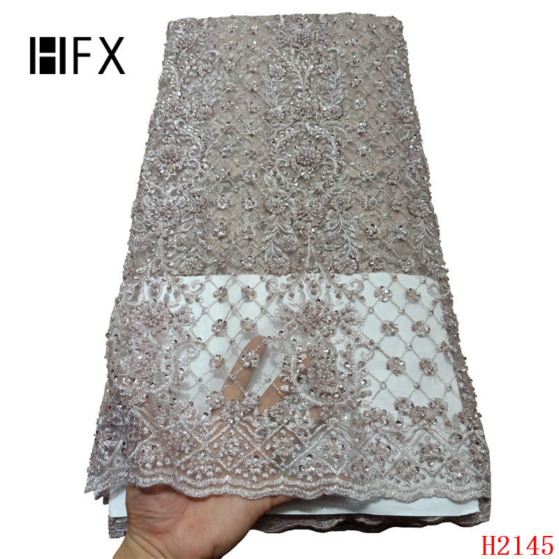 HFX 2019 Latest French Nigerian Laces Fabrics High Quality handmade beaded Tulle African Laces Fabric for Wedding dress H2145