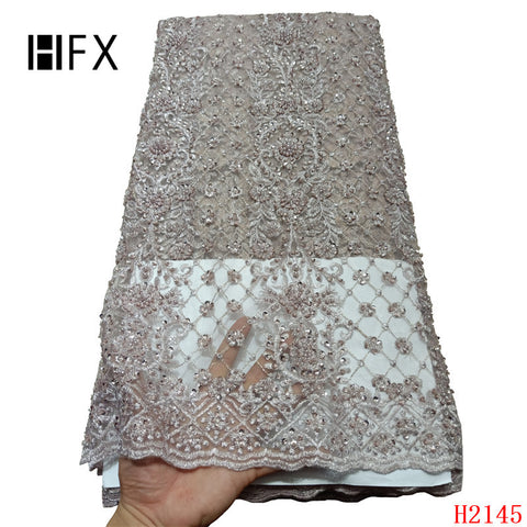 Image of HFX 2019 Latest French Nigerian Laces Fabrics High Quality handmade beaded Tulle African Laces Fabric for Wedding dress H2145