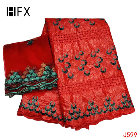 Image of HFX African Fabric 2019 Bazin Riche Getzner Red/Green Cotton for wedding dress with 2yards mesh lace fabric L599