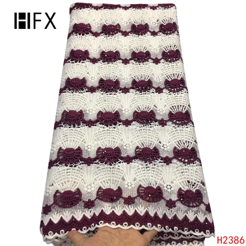 HFX African Fabric Lace 2019 White/Burgundy Nigeria Bridal Cord Lace Wedding Dress Guipure Lace Fabric for Party  X2386