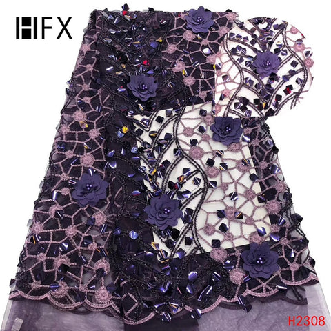 Image of HFX African Lace Fabric 2019 High Quality 3D flower Sequins French Nigerian Beads Lace Fabric Embroidery Wedding dress H2308