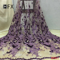 HFX African Lace Fabric 2019 Sequin Embroidery Net Lace Latest Wedding French Dress Lilac Glitter Tulle Lace Fabric X2017