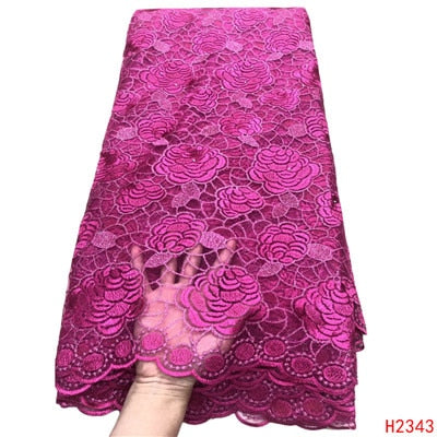 HFX African Lace Fabric 5 Yards Party Dress Tulle Lace Fushia Pink Cheap Wholesale Price French Net Lace Fabric for Girls X2343