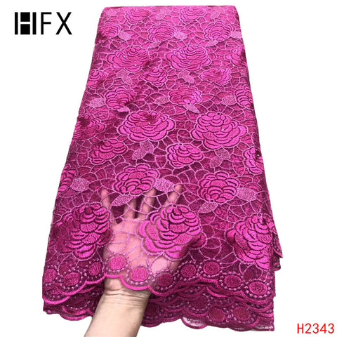 Image of HFX African Lace Fabric 5 Yards Party Dress Tulle Lace Fushia Pink Cheap Wholesale Price French Net Lace Fabric for Girls X2343