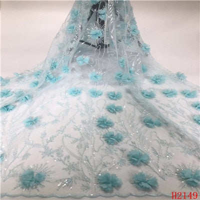 Image of HFX African Lace Fabric Beaded Sequins Tulle Expensive French Lace 3d Flowers Light Blue Wedding Dress Mesh Fabric X2149