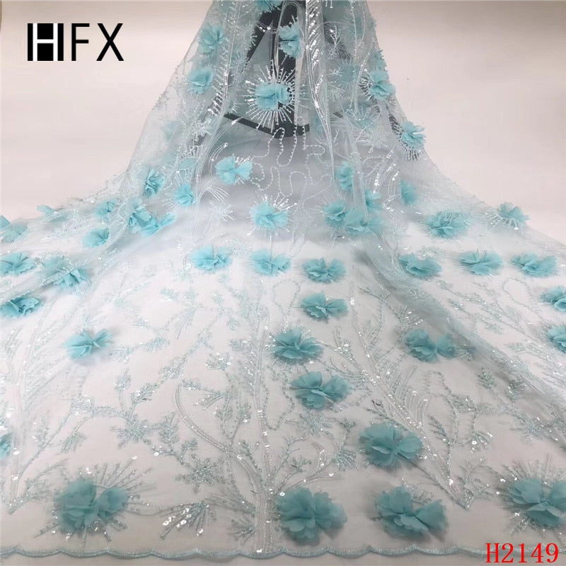 HFX African Lace Fabric Beaded Sequins Tulle Expensive French Lace 3d Flowers Light Blue Wedding Dress Mesh Fabric X2149