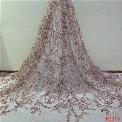 Image of HFX African Lace Fabric Indian Dress Sequin Embroidery High Quality Tulle Lace Luxury Handmade Beaded Net Lace Fabric 2019 X2313