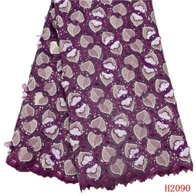 Image of HFX African Lace Fabric Latest Burgundy Evening Dress French Lace Organza Nigeria Bridal Lace Fabric with Sequins X2090