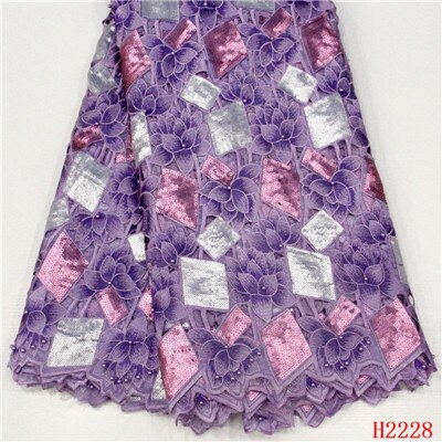 HFX African Lace Fabric Sequins Beaded High Quality Purple Embroidered Dress Lace French Lace Fabric for Women X2228
