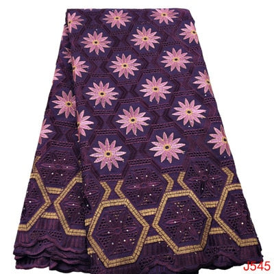 Image of HFX African Lace Fabric with Stones Purple/Pink Embroidery Cotton Yards Lace High Quality Swiss Voile Lace in Switzerland  L545