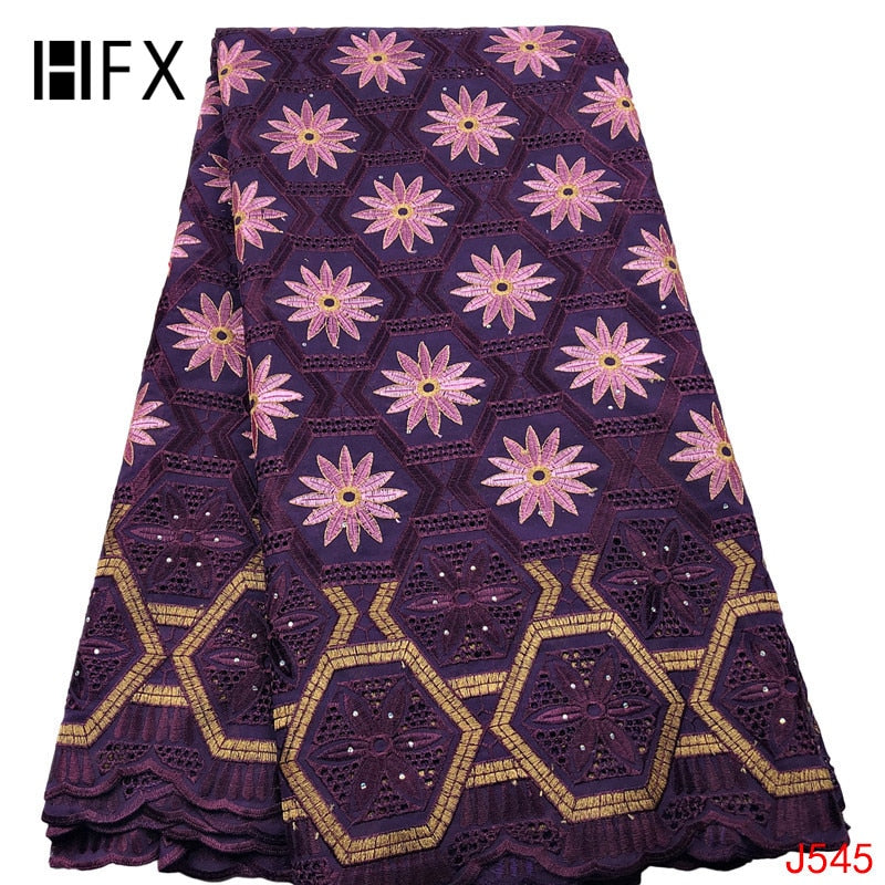 HFX African Lace Fabric with Stones Purple/Pink Embroidery Cotton Yards Lace High Quality Swiss Voile Lace in Switzerland  L545