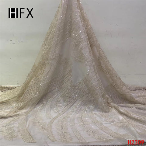 Image of HFX African Luxury Lace 2019 Champagne Gold High Quality Wedding Dress Net Lace Sequin Tulle Handmade Beaded Lace Fabric X2309
