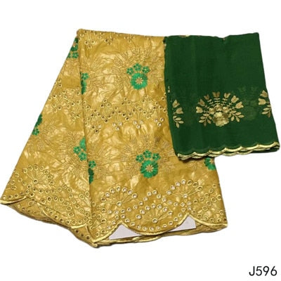 Image of HFX Bazin Riche Getzner Gold Mix Green Embroidery Cotton African Fabric with 2 Yards Net Lace 2019 Jacquard Brocade Fabric  L596