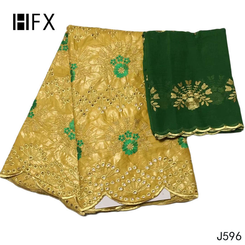 HFX Bazin Riche Getzner Gold Mix Green Embroidery Cotton African Fabric with 2 Yards Net Lace 2019 Jacquard Brocade Fabric  L596