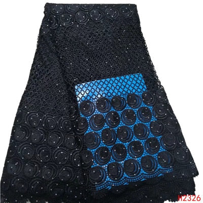 HFX Black African Lace Fabric Nigeria Latest Embroidery Guipure Lace 5 Yards High Quality Wedding Cord Lace Fabric for LadyX2326