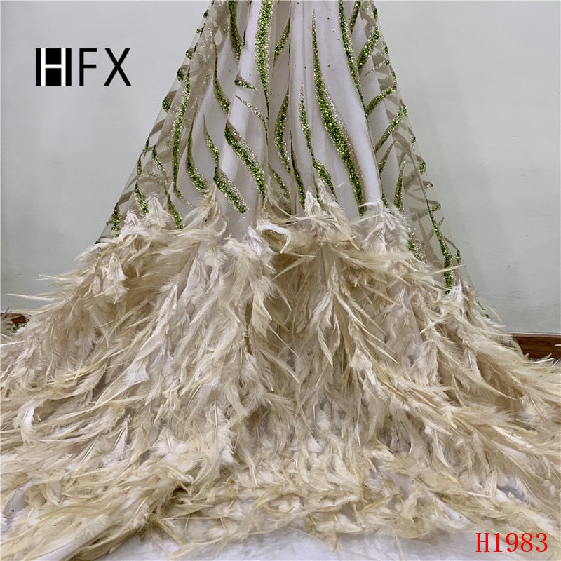 HFX French Feathers Lace Luxury Gold African Wedding Lace 2019 Sequin Embroidered High Quality Tulle Lace Fabric for Lady X1983